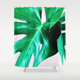 Cheese Plant Leaves Shower Curtain