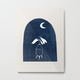 Mid Century Modern Minimalist Minimalism Ancient Ruins Potted Plant Midnight Blue Paper Collage by Ejaaz Haniff Metal Print