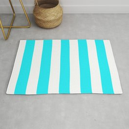 Lotion blue - solid color - white vertical lines pattern Rug