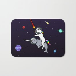 Unicorn Riding Narwhal In Space Bath Mat