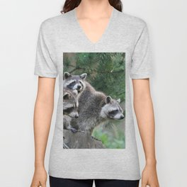 Raccoon_001_by_JAMFoto Unisex V-Neck
