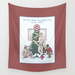 Team Cap Nice Pinup Holiday Card Wall Tapestry