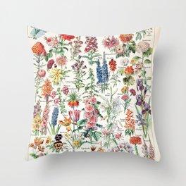 Adolphe Millot - Fleurs pour tous - French vintage poster Throw Pillow