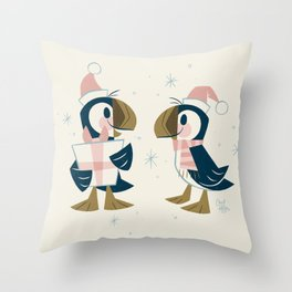 Puffins & Presents Throw Pillow