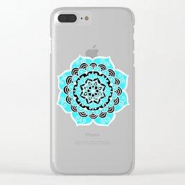 Lovely Sky Blue Mandala Flower Clear iPhone Case