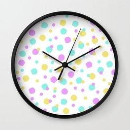 Birthday Confetti Pattern Pastel Pink Yellow Blue Wall Clock