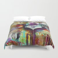"flora bowley Duvet Covers featuring ""Spirit Works"" Original Painting by Flora Bowley by Flora Bowley"