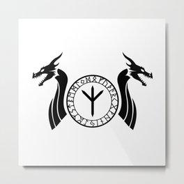 Norse Dragon - Rune Metal Print