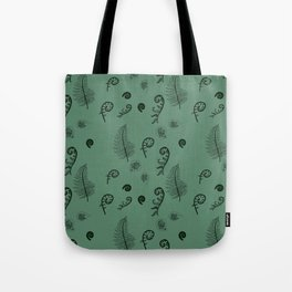 Fiddleheads and Ferns Teal Tote Bag