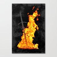 dark souls Canvas Prints featuring Bonfire ( Dark Souls II ) by Renars