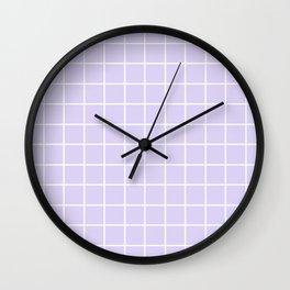 Lavender white minimalist grid pattern Wall Clock