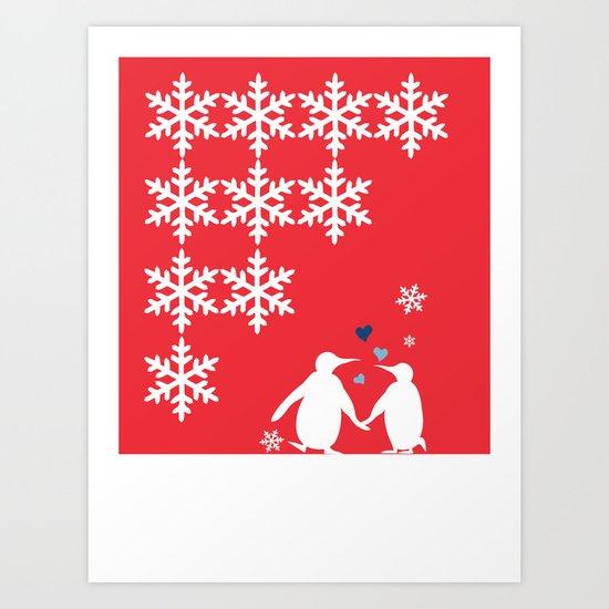 Penguin Couple Dancing on Snow Art Print