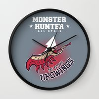 monster hunter Wall Clocks featuring Monster Hunter All Stars - The Kotoko Upswings  by Bleached ink