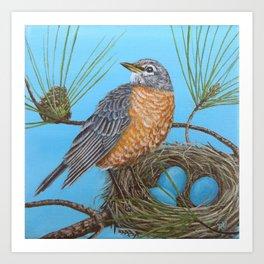 Robin with nest in Georgia pine tree Art Print