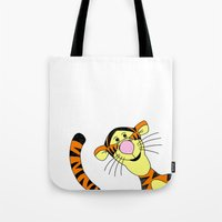 tigger Tote Bags featuring Bounce by BlackBlizzard