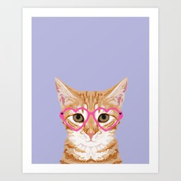 Mackenzie - Orange Tabby Cute Hipster Glasses Kitten Lavender Pastel Girly Retro Cat Art cell phone Art Print