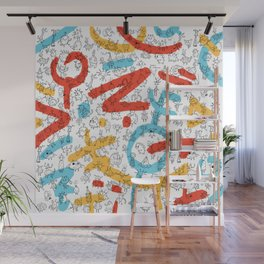 Creatures Red Blue Yellow Wall Mural