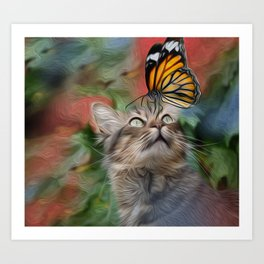 Cat playing with butterfly Art Print