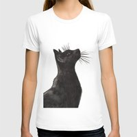 black cat T-shirts featuring Black Cat by Cedric S Touati
