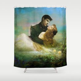 Love me tender - Sad couple in loving embrase in the lake Shower Curtain
