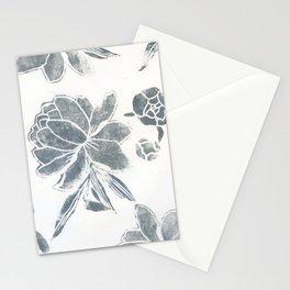 grey peony: linocut Stationery Cards