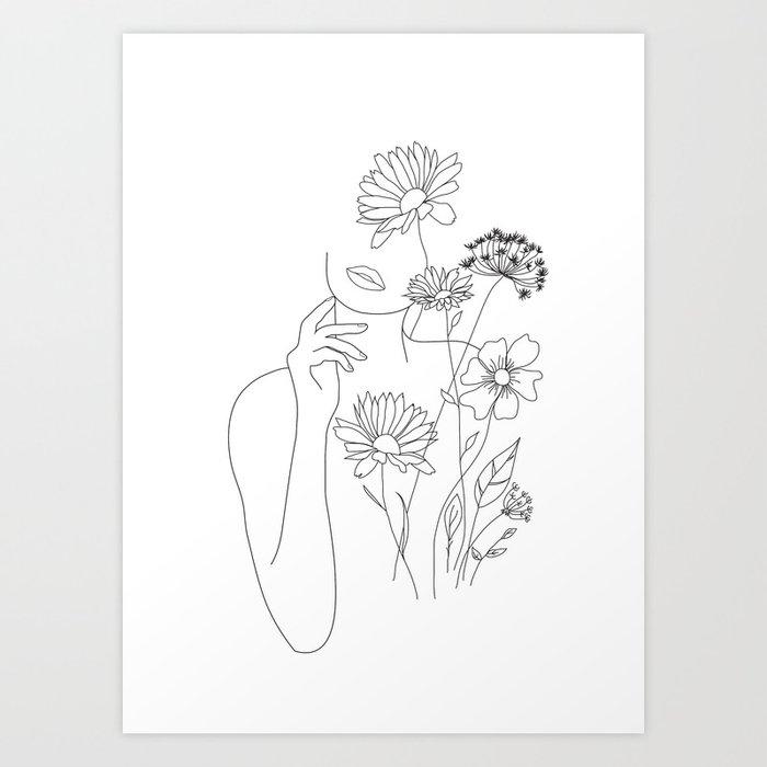 Minimal Line Art Woman with Flowers III Kunstdrucke