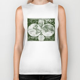 Vintage Map of The World (1685) Green & White Biker Tank