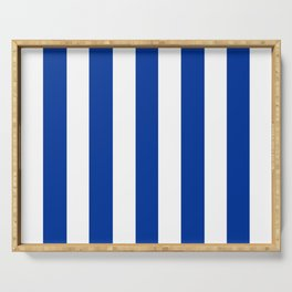 Smalt (Dark powder blue) - solid color - white vertical lines pattern Serving Tray