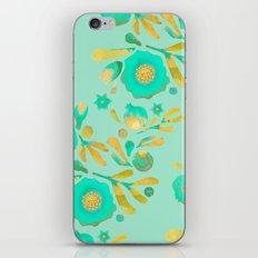 Granada Floral in Aqua on aqua iPhone & iPod Skin