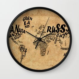 world map typography vintage Wall Clock