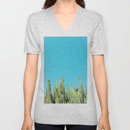 Desert Cactus Reaching for the Blue Sky Unisex V-Neck