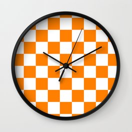 Checkered - White and Orange Wall Clock