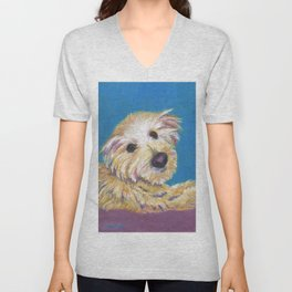 Chance, the Therapy Dog Unisex V-Neck