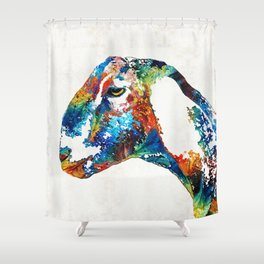 Colorful Goat Art By Sharon Cummings Shower Curtain