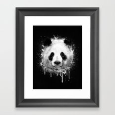 Cool Abstract Graffiti Watercolor Panda Portrait in Black & White  Framed Art Print