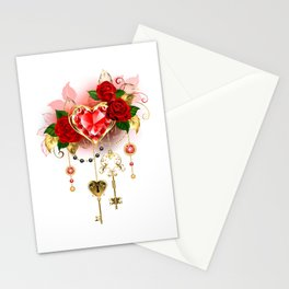 Ruby Heart with Roses Stationery Cards