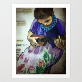 Girl with Ukulele Art Print
