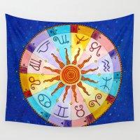 zodiac Wall Tapestries featuring Zodiac by Sandra Nascimento