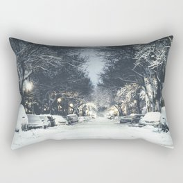 Montreal Snowy winter street Rectangular Pillow
