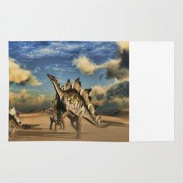 Stegosaurus dinosaur in the desert Rug