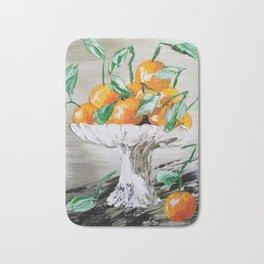 Fruit of Life, Oranges in vase, fruit print, oranges print, oranges bouquet, orange and green Bath Mat