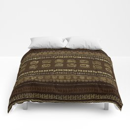 Maya Calendar Glyphs Gold on brown Comforters