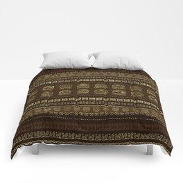 Maya Calendar Glyphs Gold on brown Comforters
