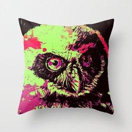 Rainbow Spectacled Owl Throw Pillow