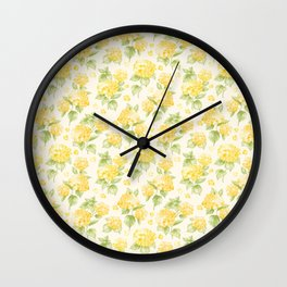 Modern  sunshine yellow green hortensia flowers Wall Clock