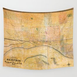 Map of the City of Memphis, Tennessee (1858) Wall Tapestry