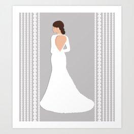 Bridal Pearls Grey & White Art Print