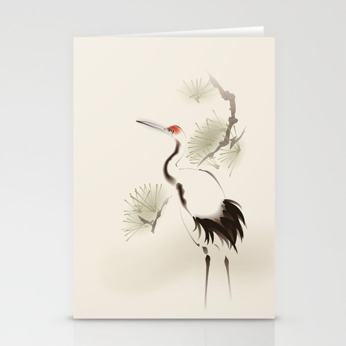 Oriental Red Crowned Crane 002 Stationery Cards By Oriartiste