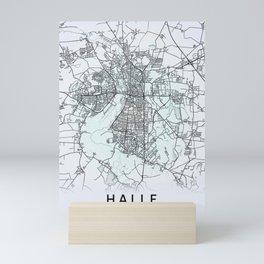 Halle, Germany, White, City, Map Mini Art Print