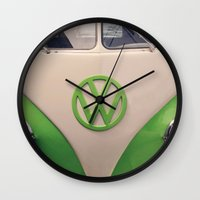 good vibes Wall Clocks featuring Good Vibes by Laura Ruth